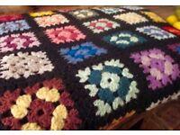 Gorgeous Large Vintage Retro Hand Crochet Blanket Home Camper VW
