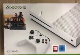 Xbox one console (white) with 3 games