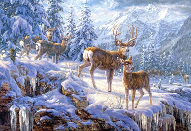 Puzzle Puzzel Winter Mountain Light Rehe Reh Hirsch Berge Schnee Natur 1000