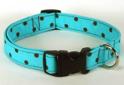 Country Brook Petz™ Deluxe Turquoise & Brown Polka Dot Designer Dog Collar