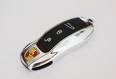 Porsche Key Cover Case Skin Shell Cap Fob Protection Bag Hull Chrome Gloss