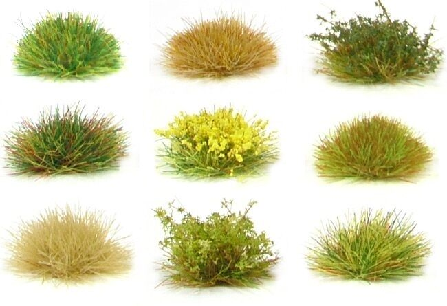 x117 sheet Self adhesive static grass tufts - Model scenery flock wargames