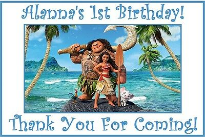 (18)Personalized Moana Party Stickers,3 1/4