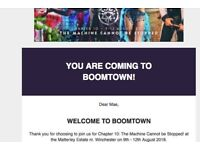 Boomtown ticket with Wednesday entry and optional coach travel from Canterbury