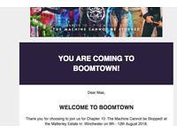 boomtown ticket with return coach travel
