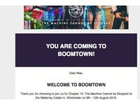 Boomtown ticket with London coach travel