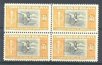 Bolivia 1951 Sc# 355 Soccer Futbol sport block 4 MNH