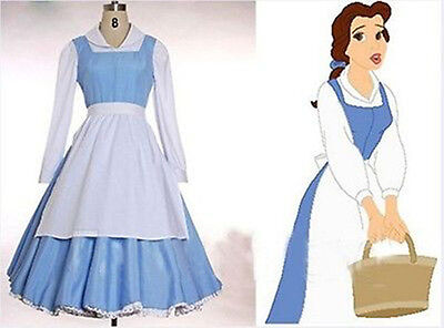 Angel Belle Costume (The Beast Princess Belle Blue Maid  Party Dress Made Cosplay Costume)