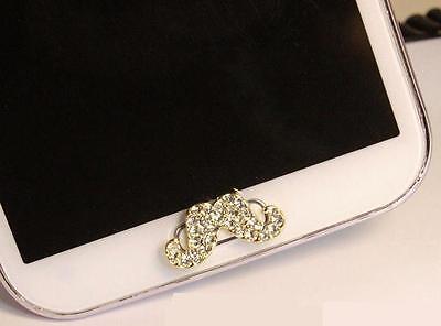 Wholesale 5pcs 3D Diamond Mustache Home Button Sticker For Samsung Galaxy,Note