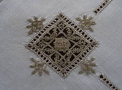 Vintage Linen Tablecloth Italian Embroidered 3D Figural Needle Lace 32""