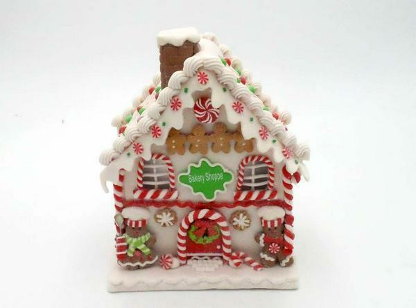"""Illuminated 9"""" Gingerbread Cottages by Valerie Bakery Shop"""