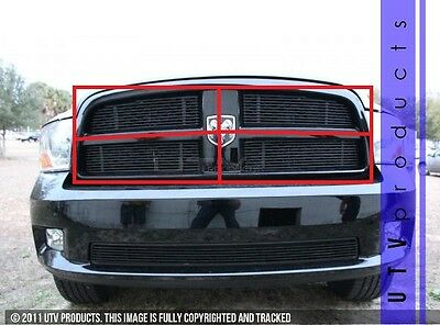 GTG 2009 - 2012 Dodge Ram Sport 1500 4PC Gloss Black Overlay Billet Grille Kit