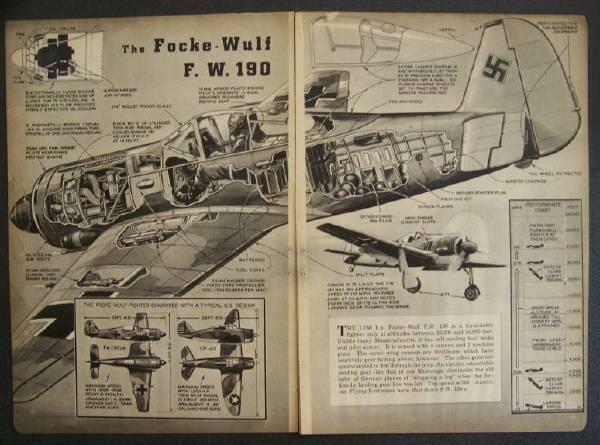1943 WWII German Nazi Focke-Wulf 190 Fighter vintage cutaway pictorial