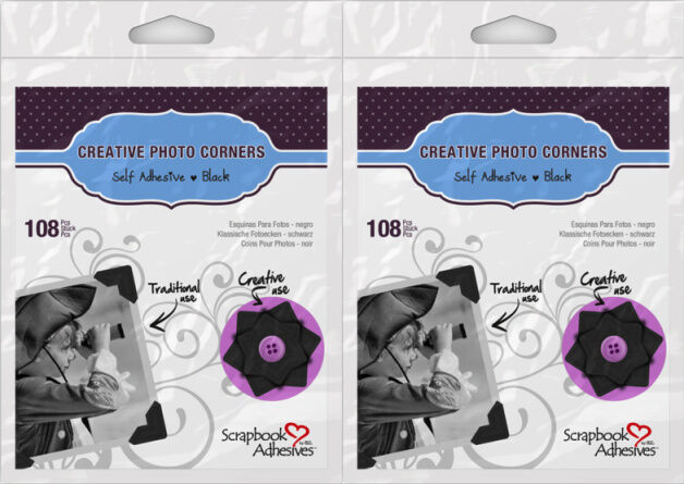 Scrapbook Adhesives (2) Packs 108/pack  Black Paper Photo Corners*  426398