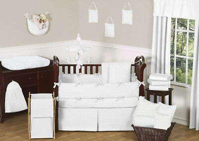 Luxury Designer Solid White Minky Dot Boutique Baby Girl or Boy Crib Bedding -