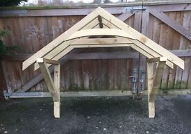 new wooden curved canopy