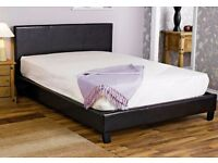Faux Leather Double Bed Black With Clean Mattress - LOCAL FREE DELIVERY