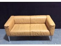 Designer 2/3 SeaterSettee/Sofa in Tan Leather & Heavy Polished metal £70 with delivery