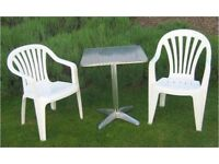 4 White Plastic Garden Chairs Good condition