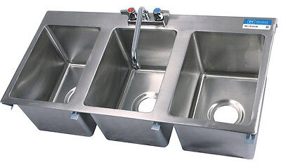 Stainless Steel Commercial (3) Three Compartment Drop In Sink with Faucet on Rummage