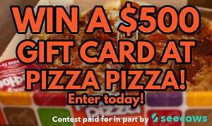 Free Online Contest to Win a $500 to $1,000 Gift Card at Pizza Pizza! Paid for by Pizza Pizza and Seecows!