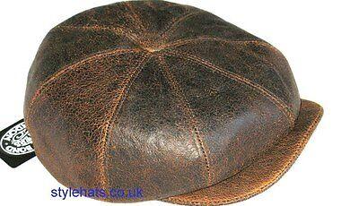 Leather Hat 100% Sheep Skin Baker boy Paper Boy Gatsby Cap UK Brown Worn Look
