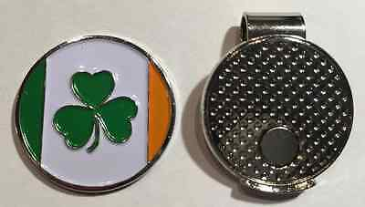 Ireland Flag Irish Lucky Shamrock Clover Golf Ball Marker with Magnetic Hat Clip