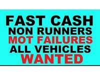 WANTED ALL MOT FAILURES AND SCRAP CARS AND VANS