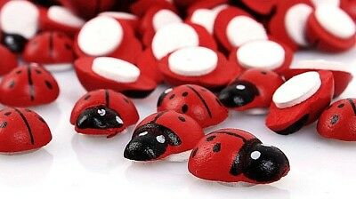 Small RED LADYBUG Stick-on Wood Craft Pieces 1/2