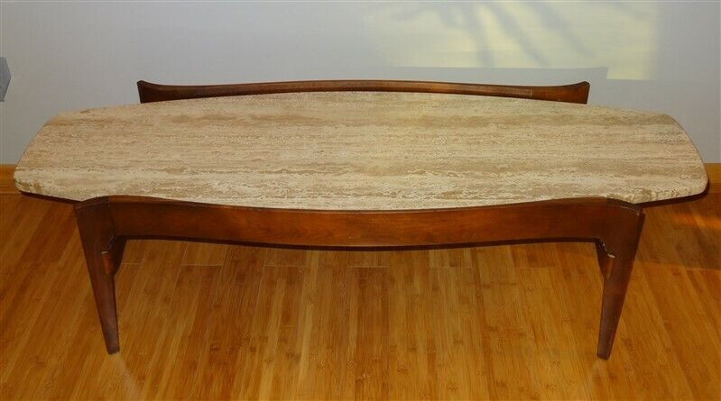 Mid Century 1960 Coffee Table Bertha Schaefer For Singer & Sons Travertine Top