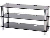 Optimum smoked black glass Audio/TV Stand with three shelves (40cm x 110cm)