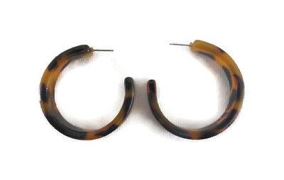 Women's Medium Resin Tortoise Shell Thick Round Circle Hoop Drop Earrings (Tortoise Shell Modeschmuck)