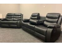 Limited Sale!!! Leather Recliner 3+2 Set With Cup Holders Black Colour
