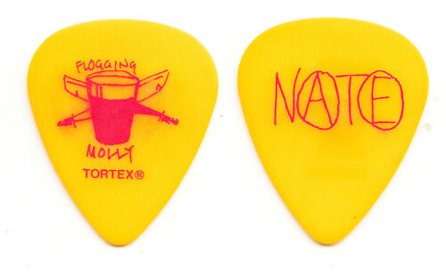 Flogging Molly Nathen Maxwell Signature Yellow/Red Guitar Pick - 2011 Tour