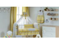 Yellow/ grey bedding set for baby '' BEE BEE'' (without baby cot)