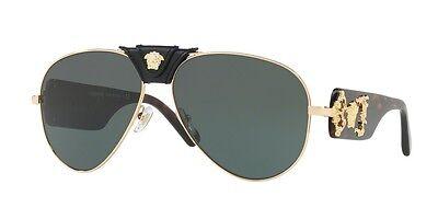 Versace Sunglasses VE 2150Q 1002/71 Gold Havana Gray Green 62MM NWT Auth VE2150Q