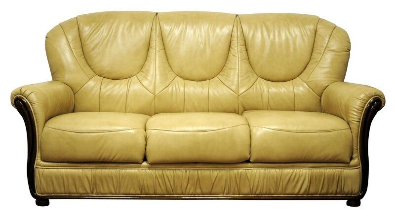 Salotto divano classico in vera pelle 3 posti crema prezzo speciale scorniciato ebay - Divano classico in pelle ...