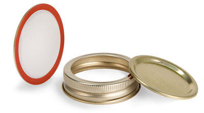 10pk Mason Jar Lids Regular Mouth Leak Proof and Canning Storage Gold 10 - Mason Jar Lid