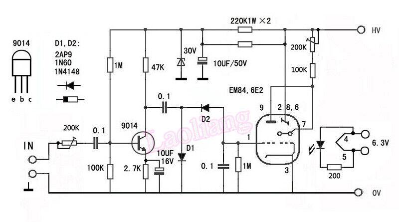 6e2 em84 em87 em800 6uh6 tube magic eye vu meter audio