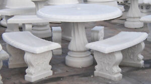 Elegant Concrete Patio Furniture - table & stools (30 Years Old)