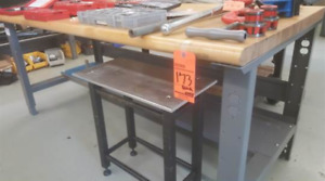 Uline workbench with butcher block table top