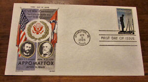 TWO 1965 Appomattox Civil War Centennial 5 Cent First Day Covers