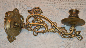 Antique/vintage Brass Piano Wall Candle Candelabra Holder Stick
