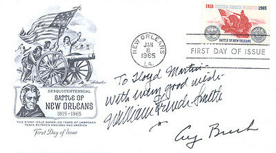 George H W  Bush   Inscribed First Day Cover Signed With Co Signers