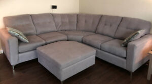 For Sale - Left-facing Sectional Couch with Ottoman - $950 obo