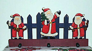 Wooden Santa with Bells on Picket Fence with 3 pegs .. Cambridge Kitchener Area image 1