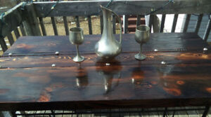 Custom Made Unique Rustic Table and 2 Benches $350