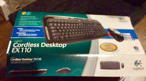 Brand new Logitech cordless keyboard and mouse Ex110