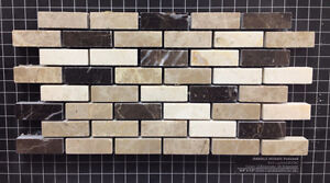 0.4''x1.2'' Cream Light and Dark Emperador Marble Backsplash Mix