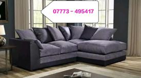 ☑️☑️ Chennile Black & Grey Corner Or 3+2 seater Sofa ☑️☑️
